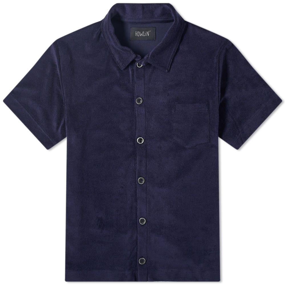 ハウリン Howlin by Morrison メンズ 半袖シャツ トップス【Howlin' Light Flight Towelling Shirt】Navy