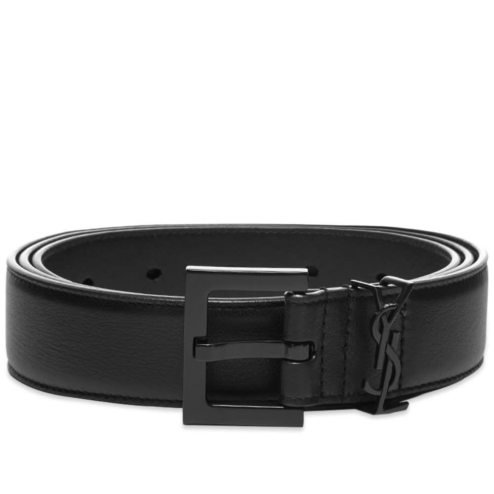 イヴ サンローラン Saint Laurent メンズ ベルト 【YSL Metal Logo Metal Belt】Black/Black