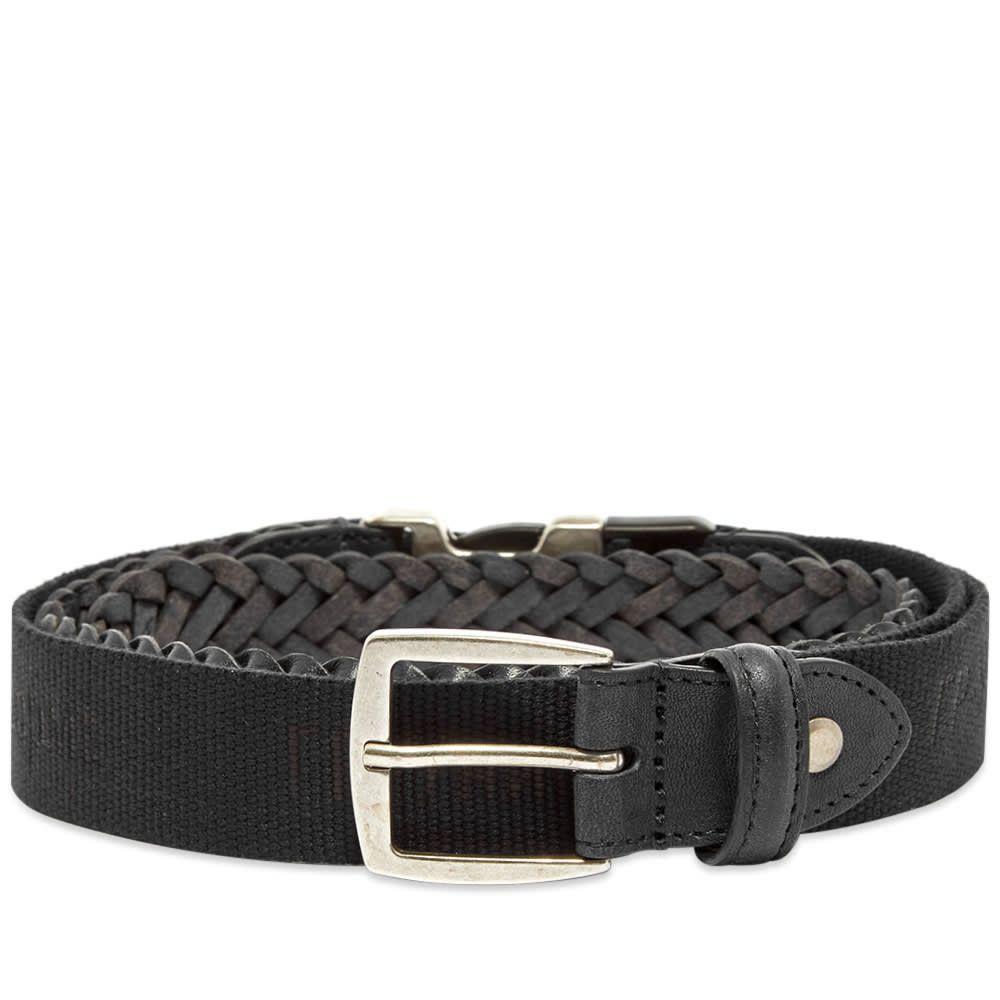 ジーアール ユニフォーマ GR Uniforma メンズ ベルト 【GR-Uniforma Woven Leather & Webbing Hybrid Belt】Black