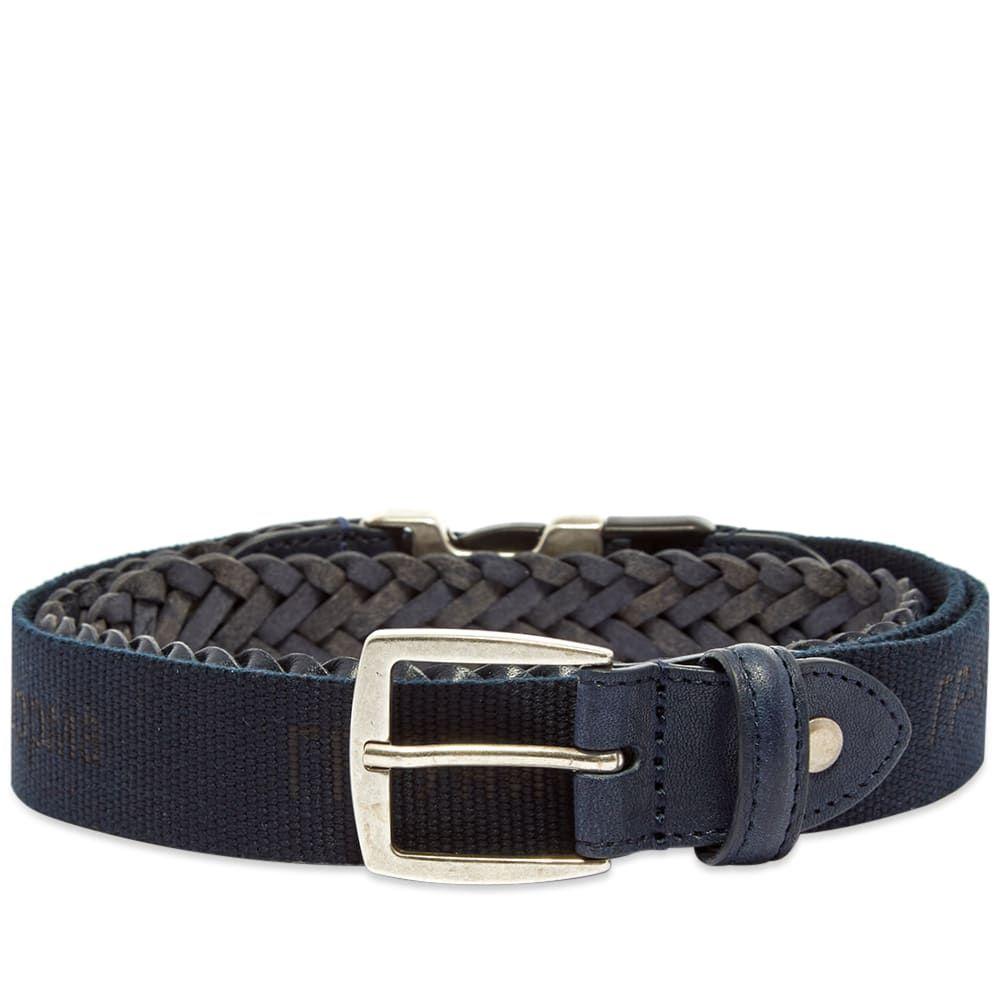 ジーアール ユニフォーマ GR Uniforma メンズ ベルト 【GR-Uniforma Woven Leather & Webbing Hybrid Belt】Navy