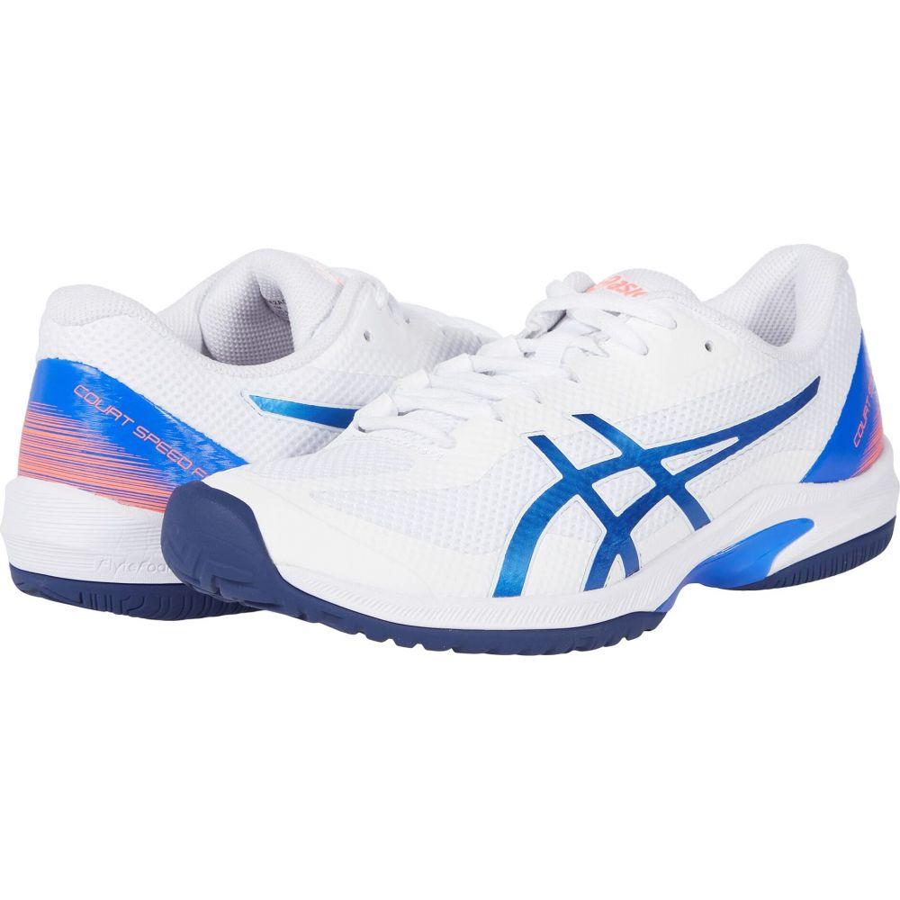 アシックス レディース 激安挑戦中 テニス 低廉 シューズ 靴 White Lapis Lazuli Speed Court サイズ交換無料 Blue FF ASICS