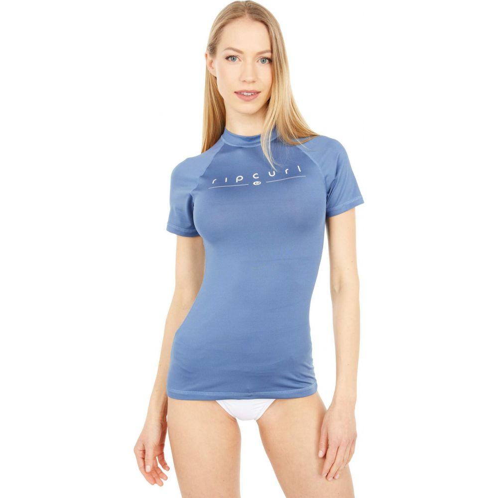 (訳ありセール 格安) リップカール レディース 水着 ビーチウェア ラッシュガード 日本限定 Mid Blue サイズ交換無料 Sleeve UV Rays Curl Short Rip Golden