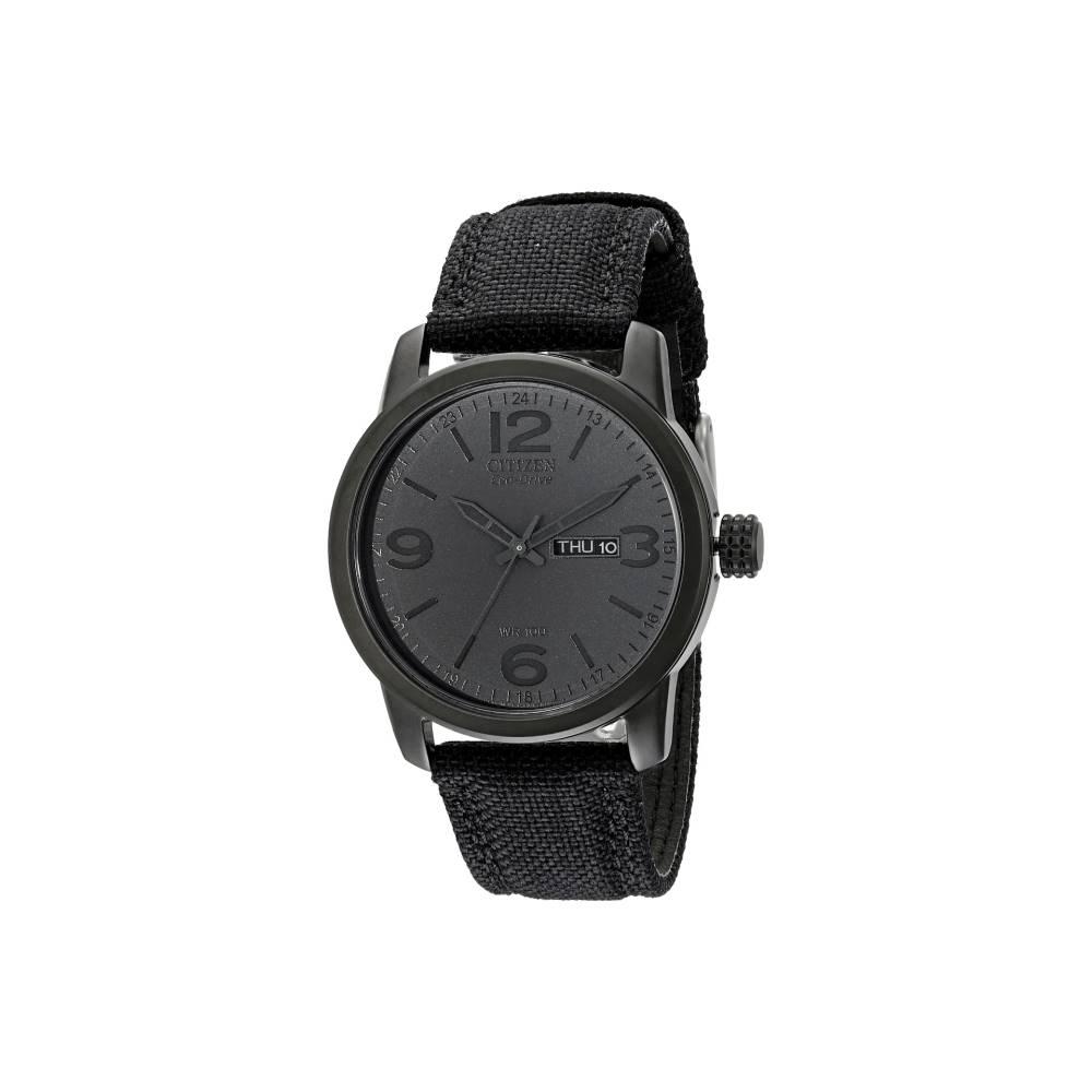 シチズン メンズ 財布・時計・雑貨 腕時計【BM8475-00F Canvas Strap Eco Drive Watch】Black Ion Plated