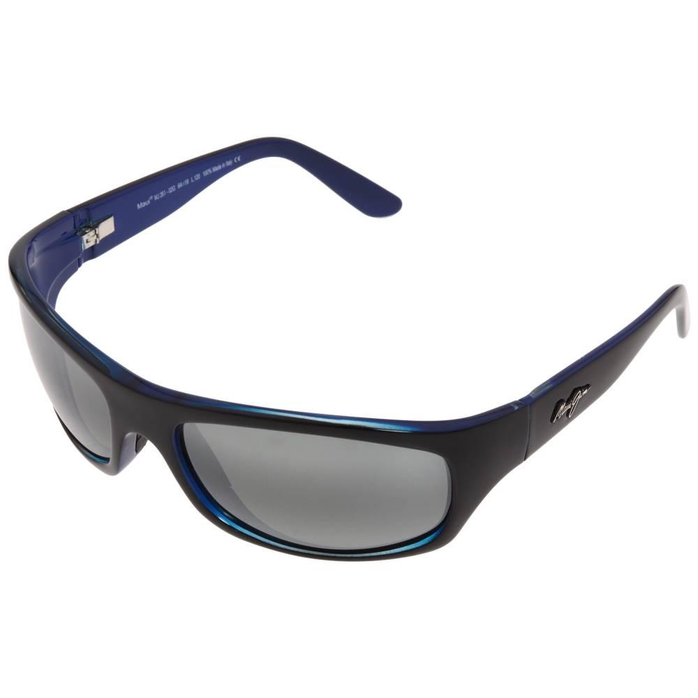 マウイジム メンズ ファッション小物 スポーツサングラス【Surf Rider】Black w/ Blue Interior/Neutral Grey