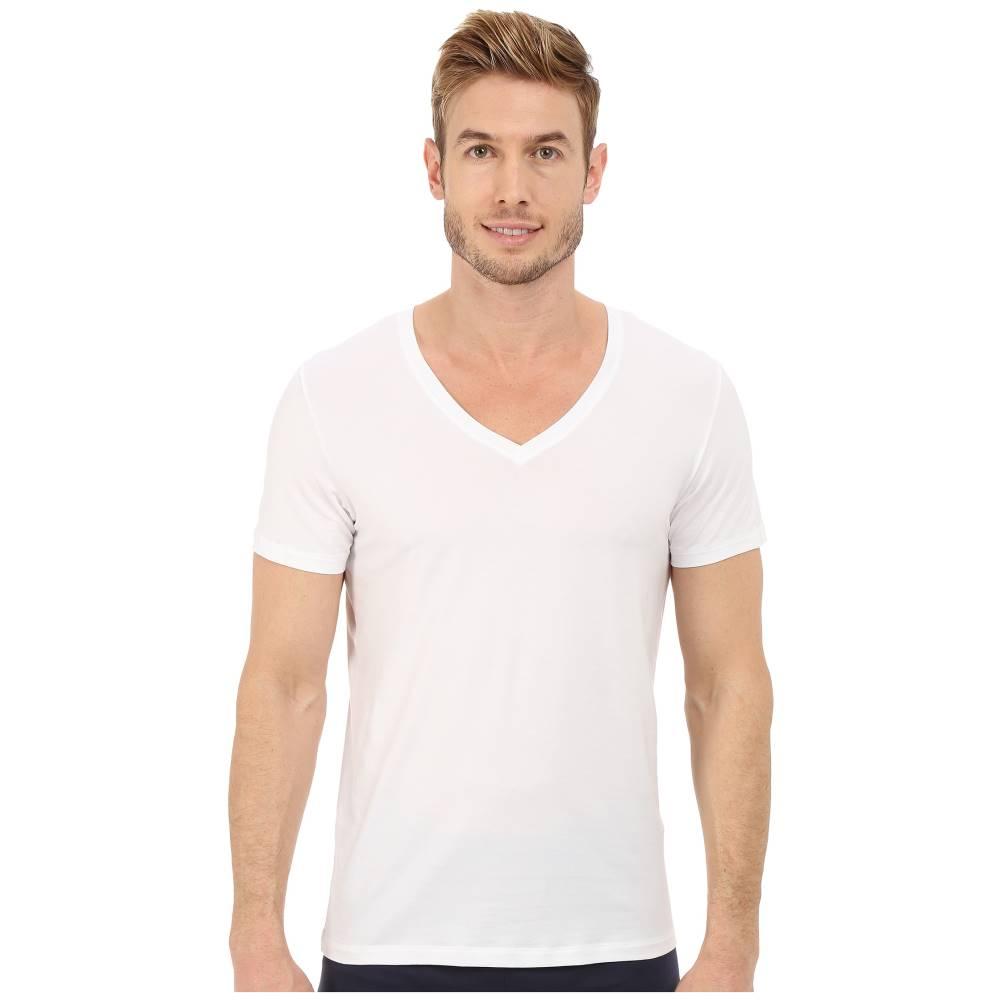 ハンロ メンズ トップス Tシャツ【Cotton Superior V-Neck Shirt】White