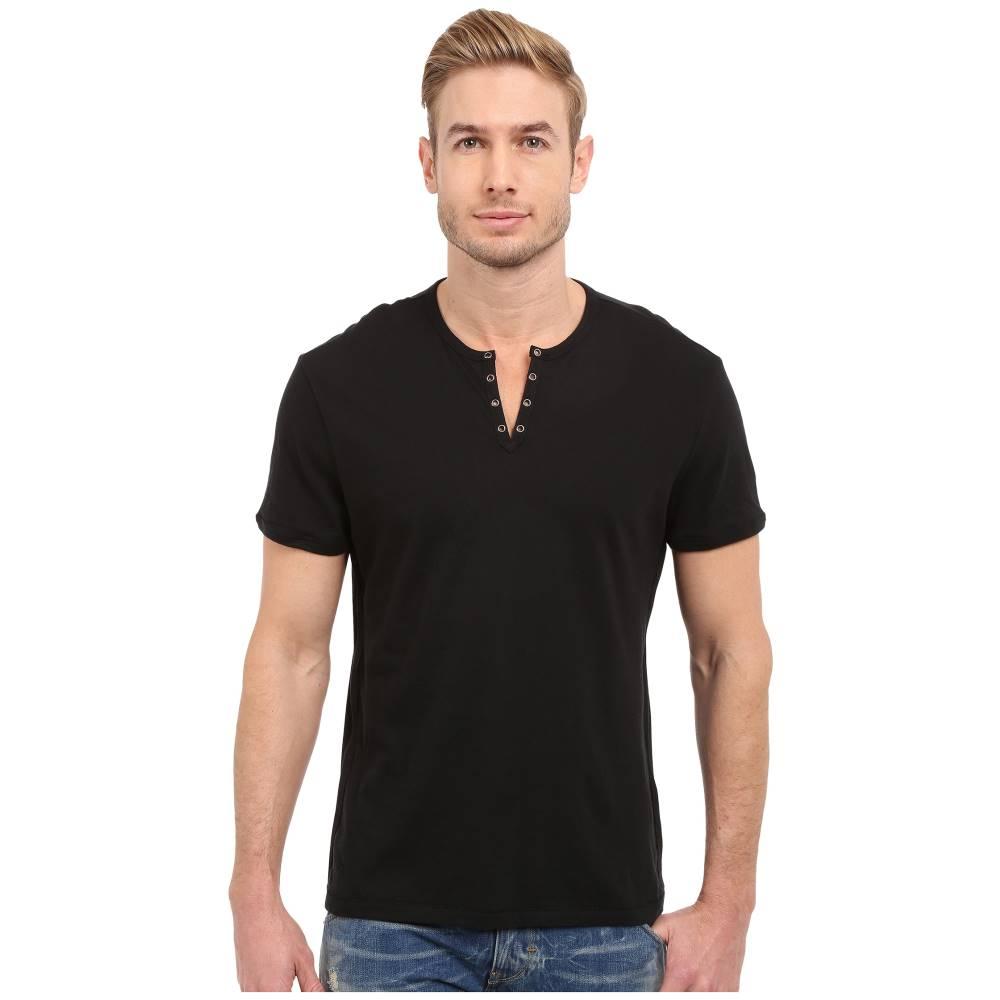 ジョン バルベイトス メンズ トップス Tシャツ【Short Sleeve Crew Neck Knit Eylelet Placket Detail K1213R2B】Black