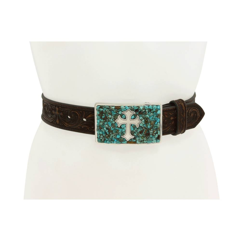 エムアンドエフ ウエスタン レディース ファッション小物 ベルト【Turquoise Stone Cross】Turquoise/Brown