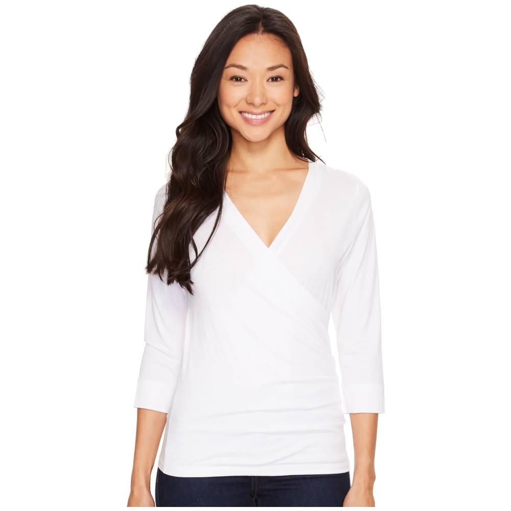 リラピー レディース トップス Tシャツ【Pima Jersey 3/4 Sleeve Surplice Top】White