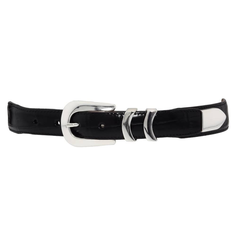 ブライトン メンズ ファッション小物 ベルト【Catera Croco Taper Belt】Black