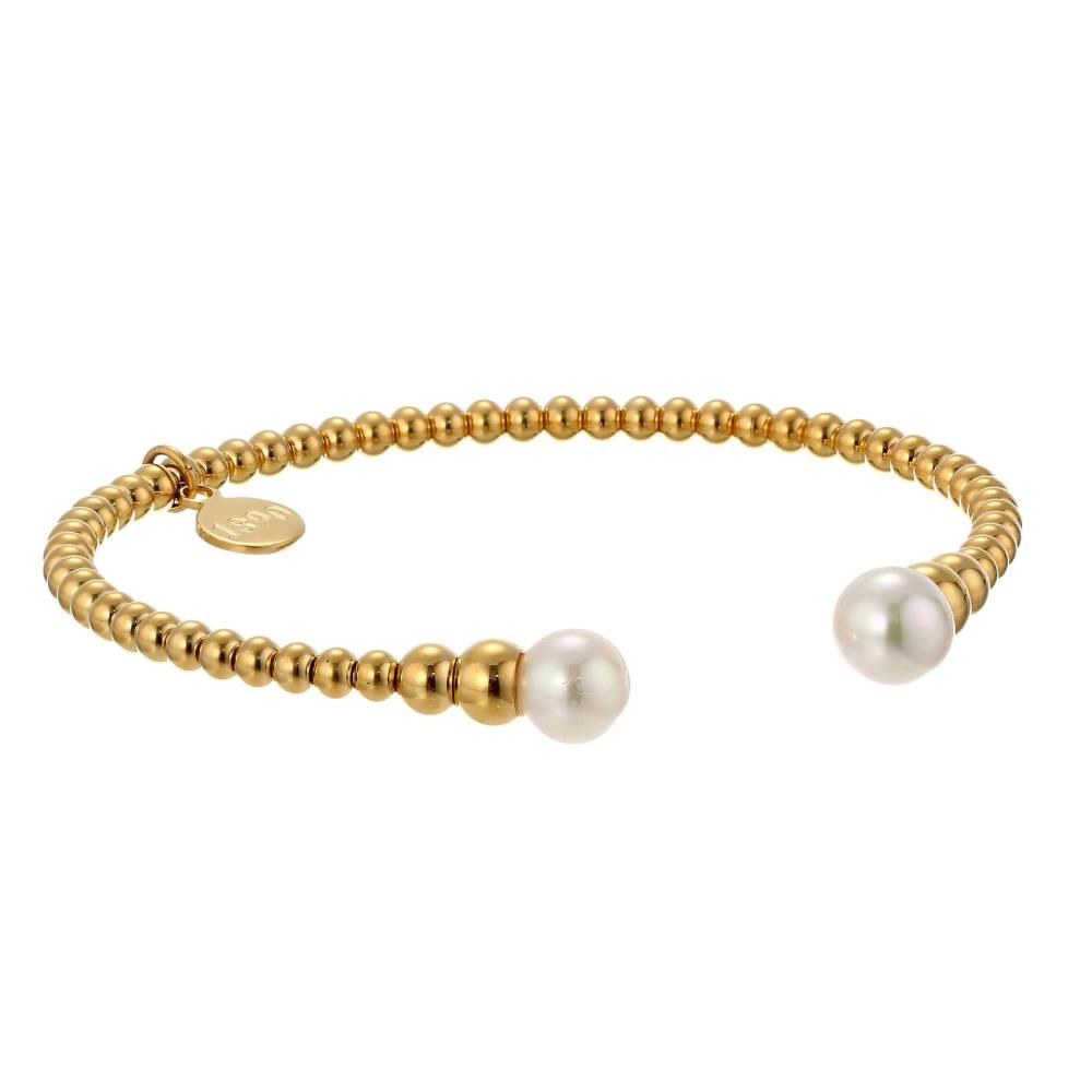 マジョリカ レディース ジュエリー・アクセサリー ブレスレット【8mm Round Pearl Bangle Bracelet】Gold/White