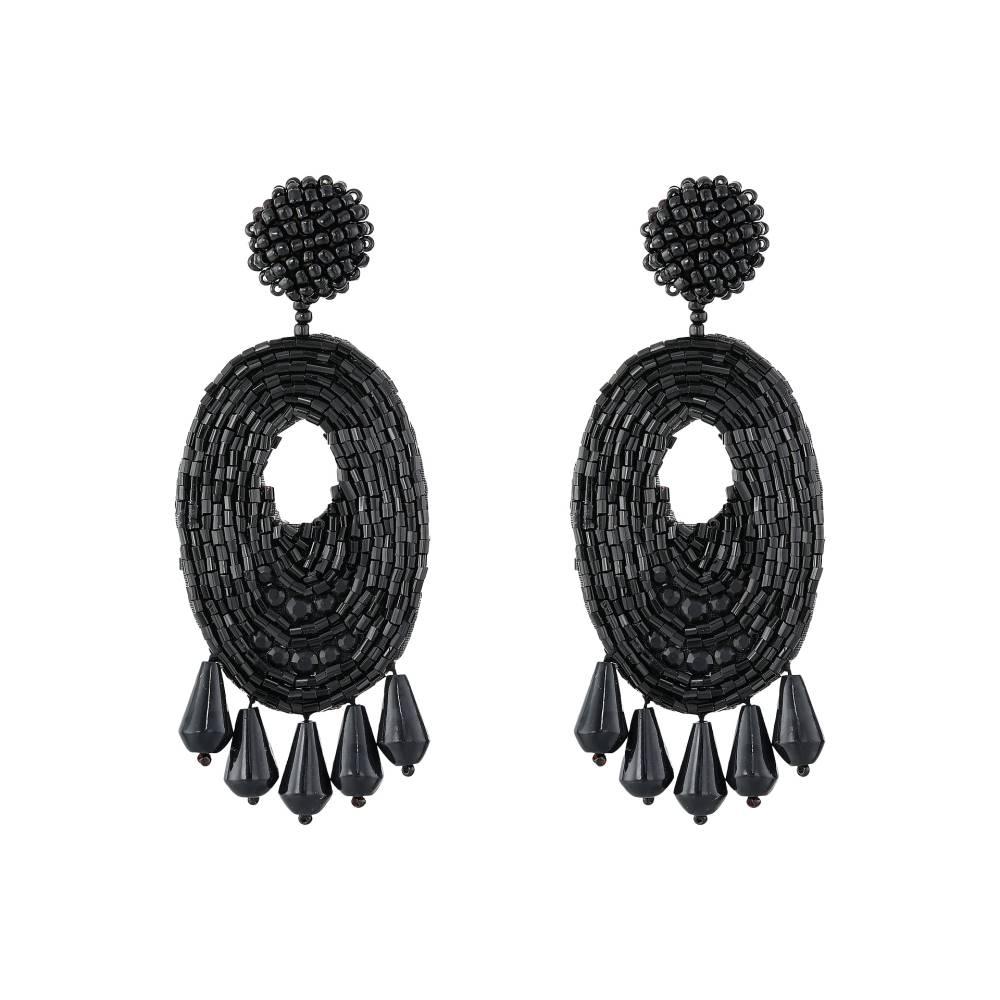 ケネスジェイレーン レディース ジュエリー・アクセサリー イヤリング・ピアス【Oval w/ Drops Round Top Earrings】Black