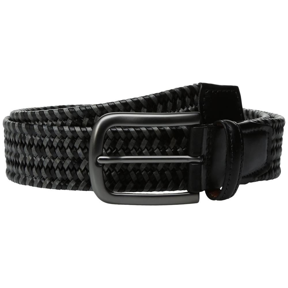 トリノレザー メンズ ファッション小物 ベルト【35mm Italian Mini Strand Woven Stretch Leather】Black/Grey