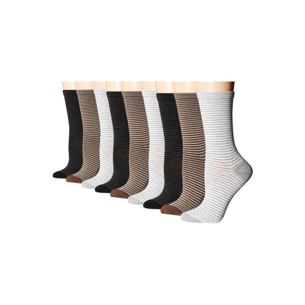 エコー レディース インナー・下着 ソックス【Stripe Crew Socks - 9 pack】Black/Brown/Gray