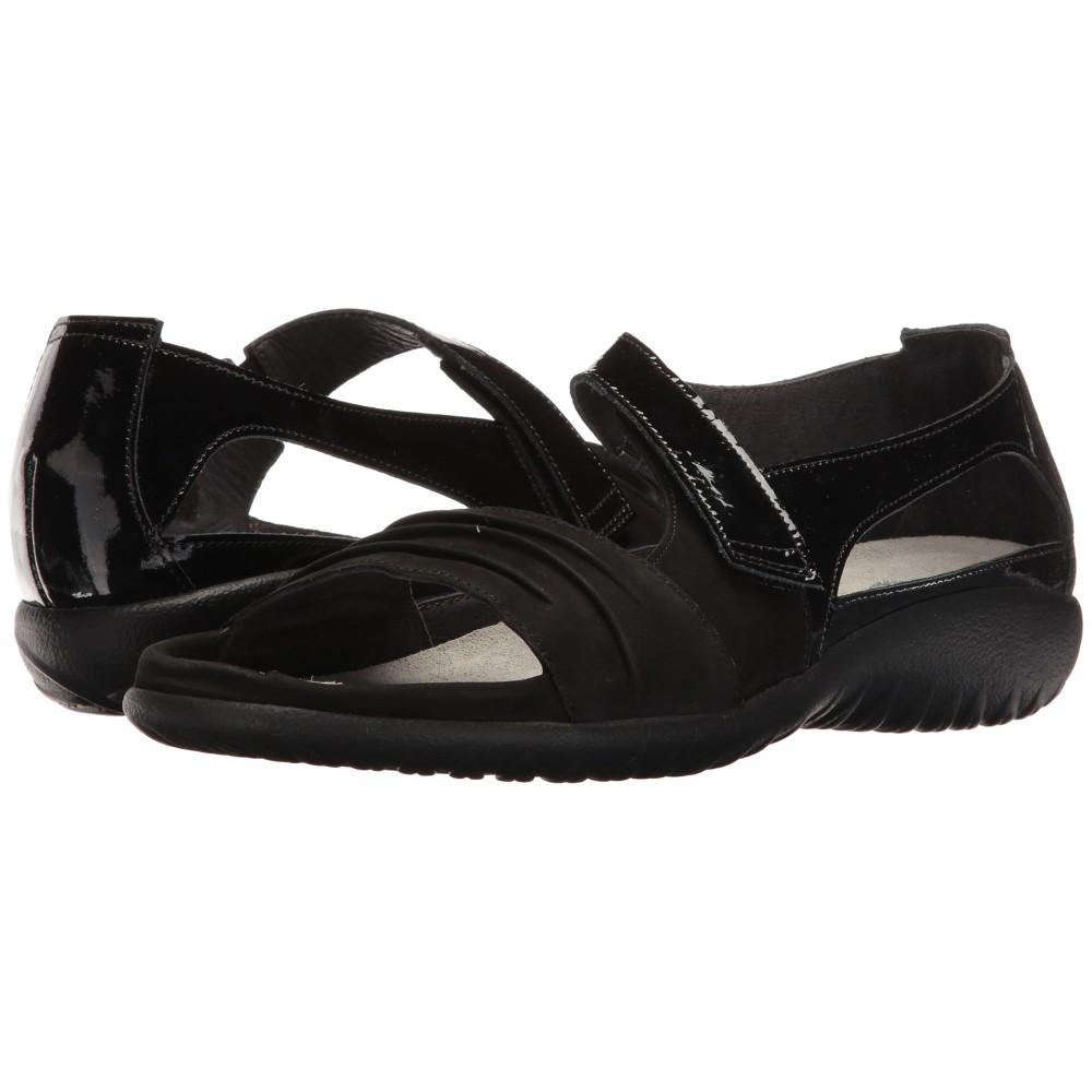 ナオトフットウェアー レディース シューズ・靴 サンダル・ミュール【Papaki】Black Patent Leather/Black Velvet Nubuck