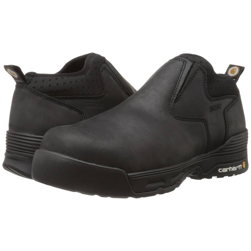 カーハート メンズ シューズ・靴 ブーツ【4 Inch Black Waterproof Slip-On】Black Coated Leather