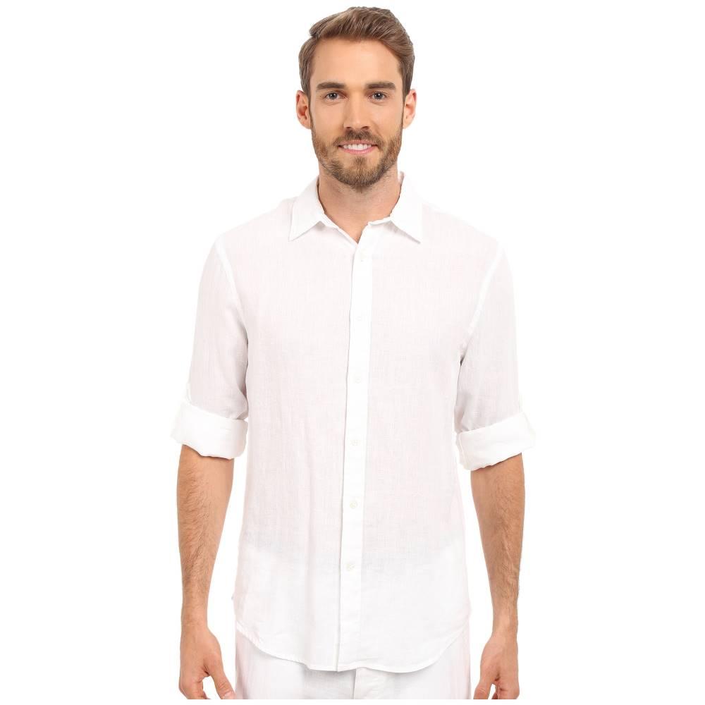 ペリー エリス メンズ トップス シャツ【Rolled Sleeve Solid Linen Shirt】Bright White 1