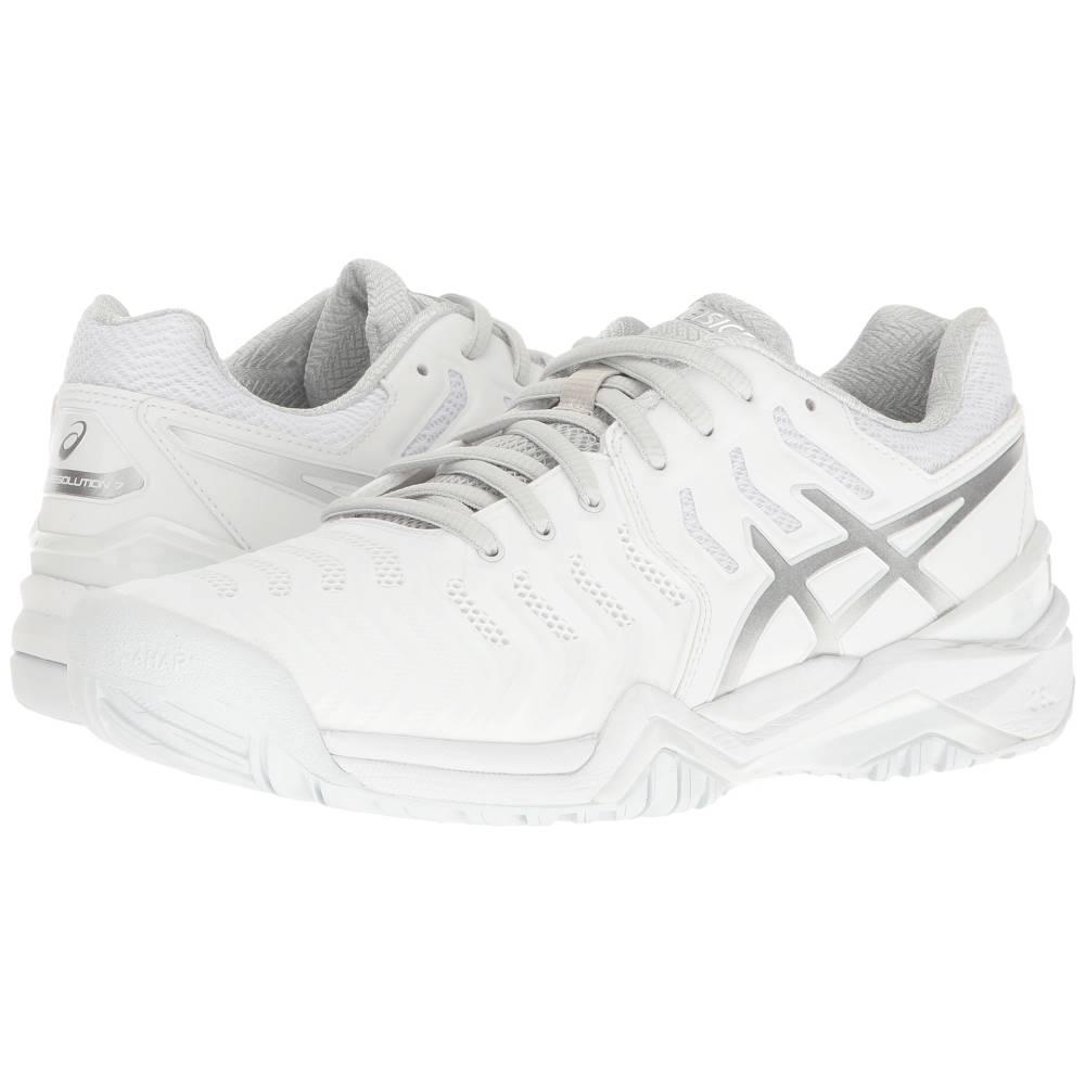 アシックス レディース テニス シューズ・靴【Gel-Resolution 7】White/Silver