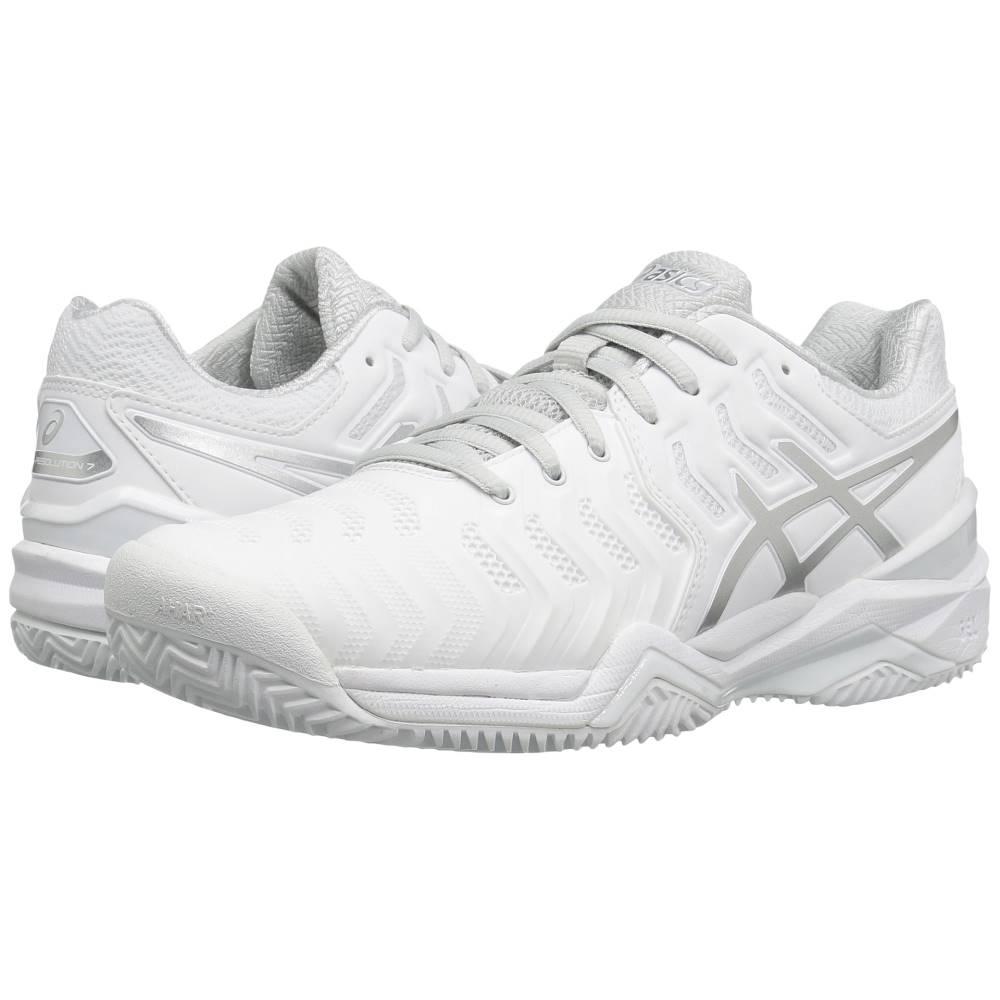 アシックス レディース テニス シューズ・靴【Gel-Resolution 7 Clay Court】White/Silver