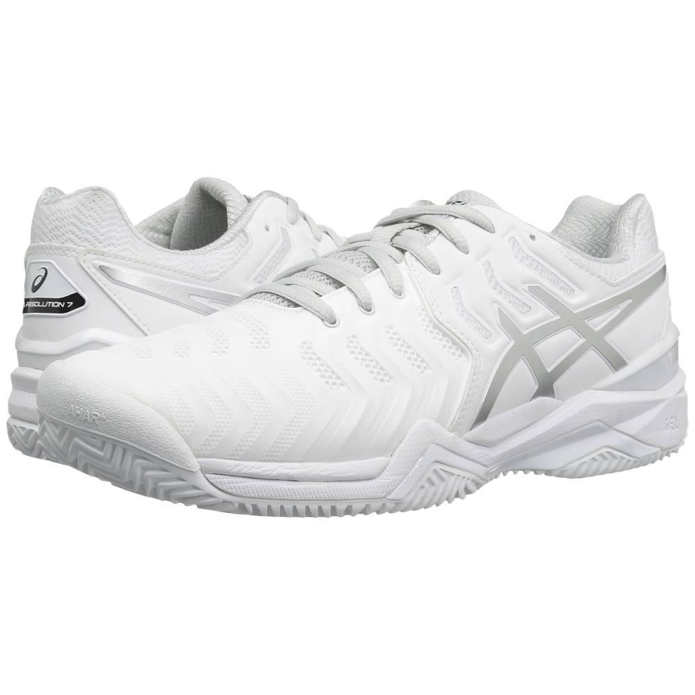 アシックス メンズ テニス シューズ・靴【Gel-Resolution 7 Clay Court】White/Silver