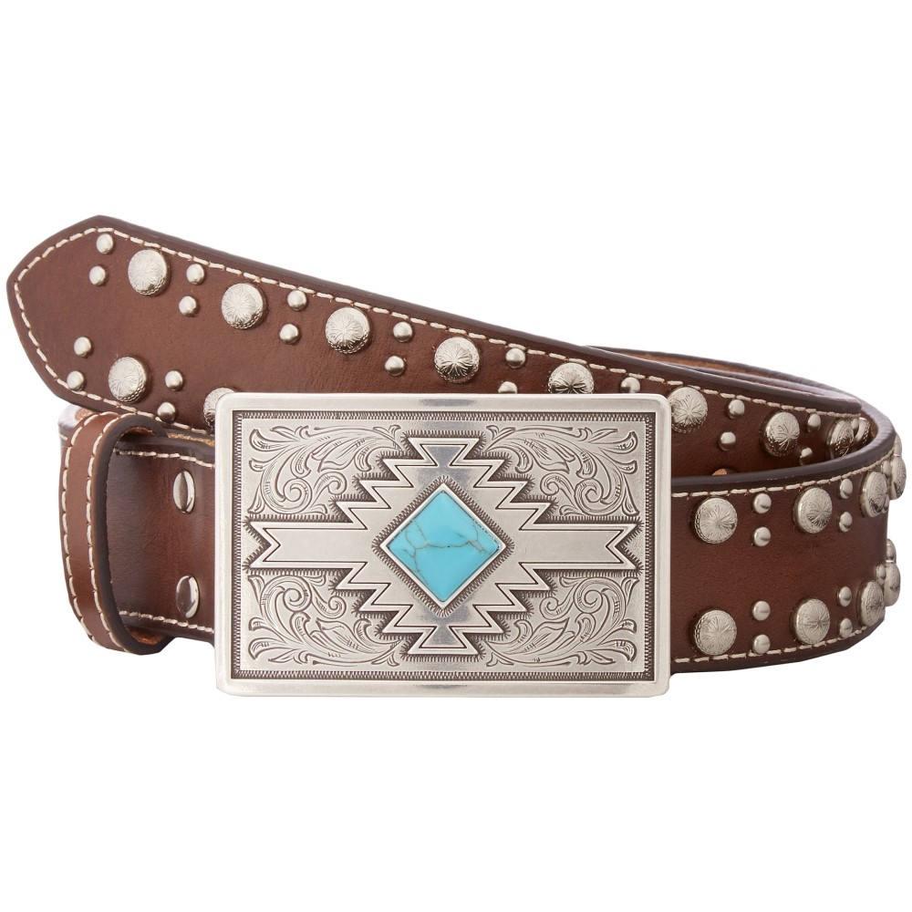エムアンドエフ ウエスタン レディース ファッション小物 ベルト【Studded Edge Aztec Buckle Belt】Brown