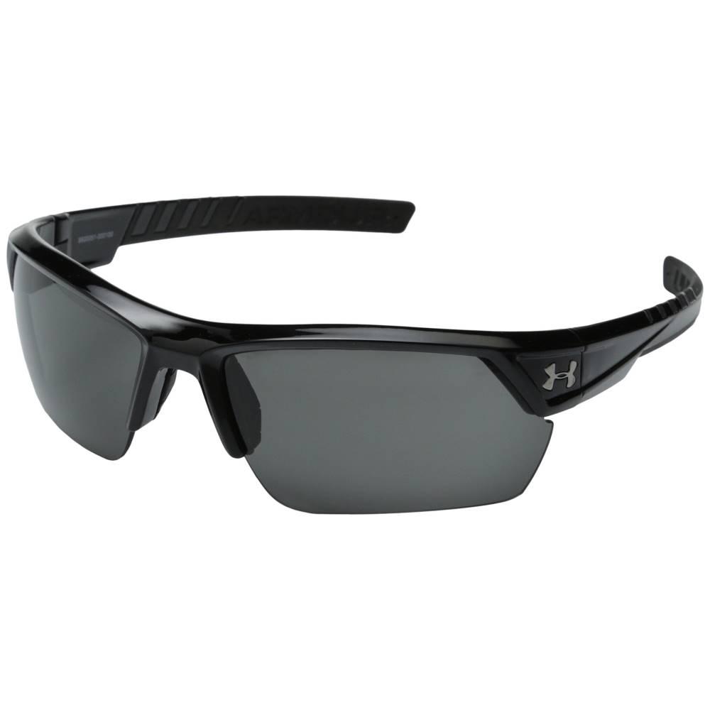 アンダーアーマー メンズ ファッション小物 スポーツサングラス【UA Igniter 2.0】Shiny Black Frame w/ Black Rubber/Gray Lens