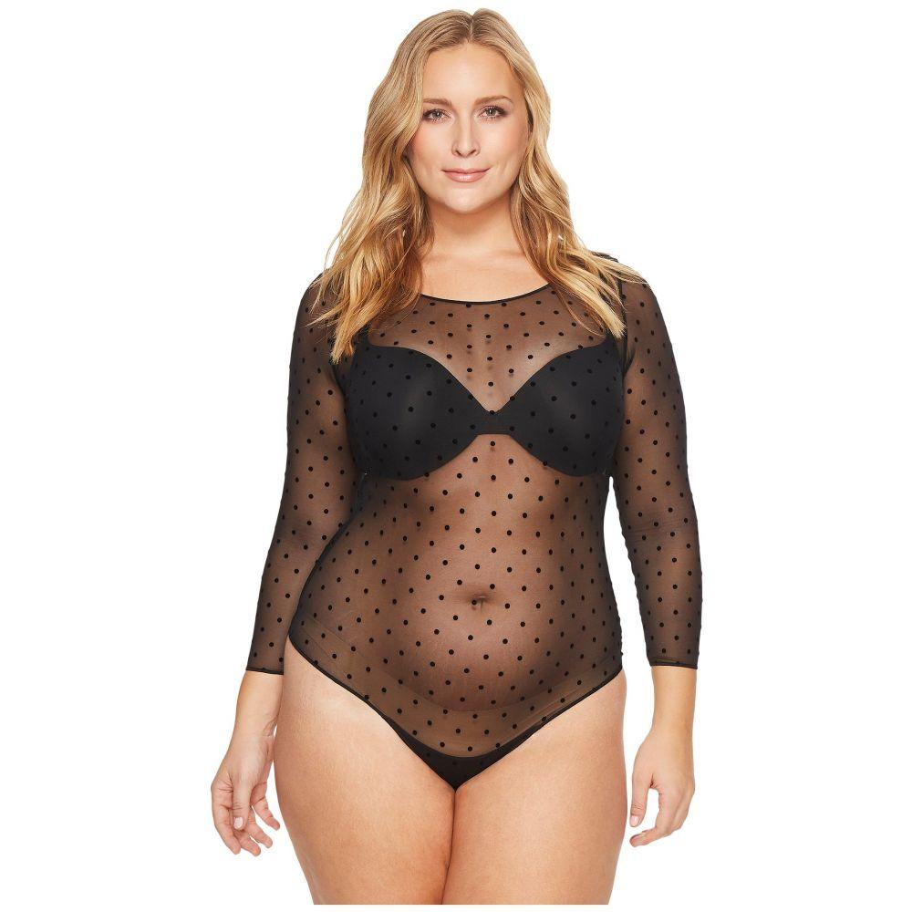 スパンクス レディース インナー・下着 ボディースーツ【Plus Size Sheer Long Sleeve Bodysuit】Flocked Dot