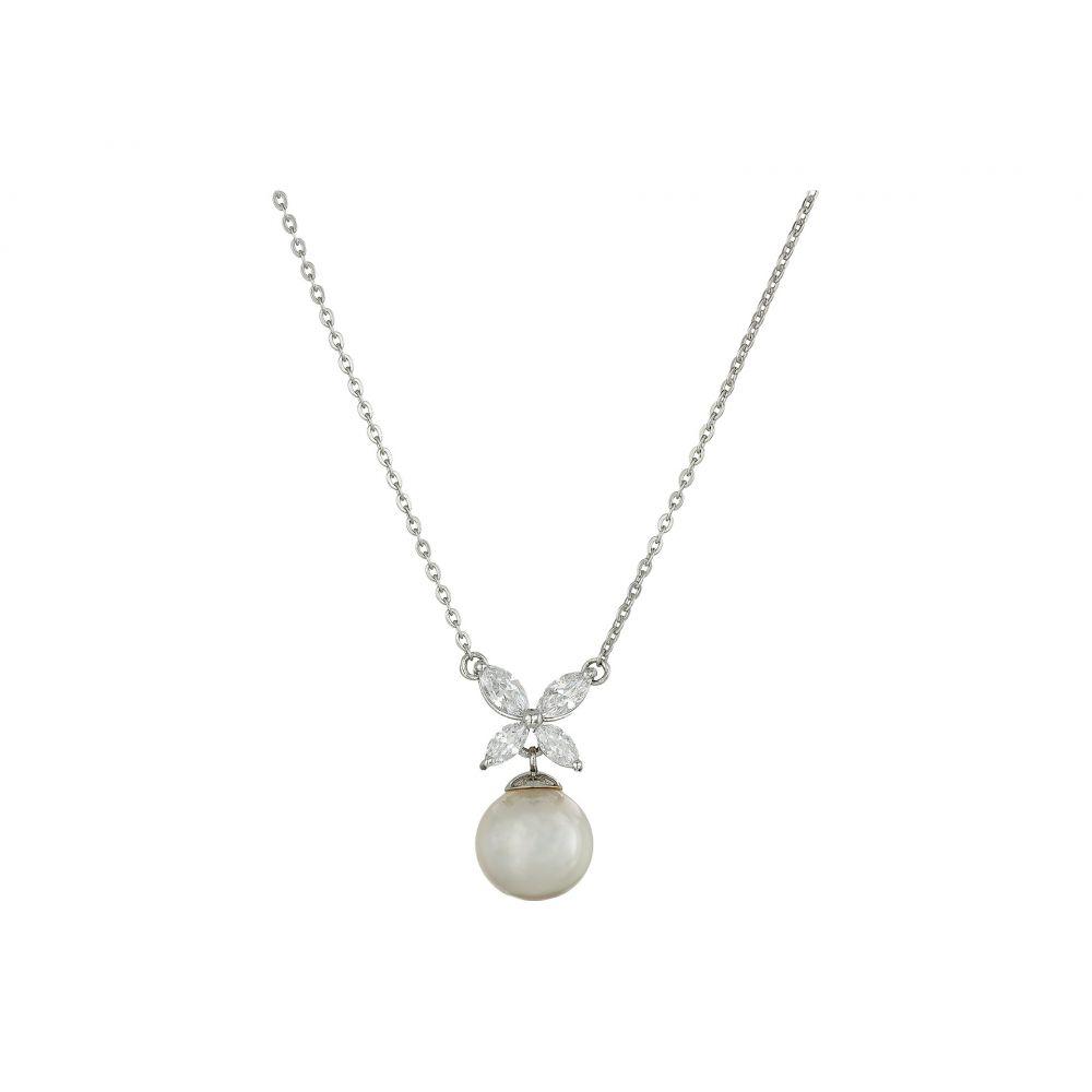 マジョリカ レディース ジュエリー・アクセサリー ネックレス【8mm Pearl and CZ Pendant Necklace】Silver/White