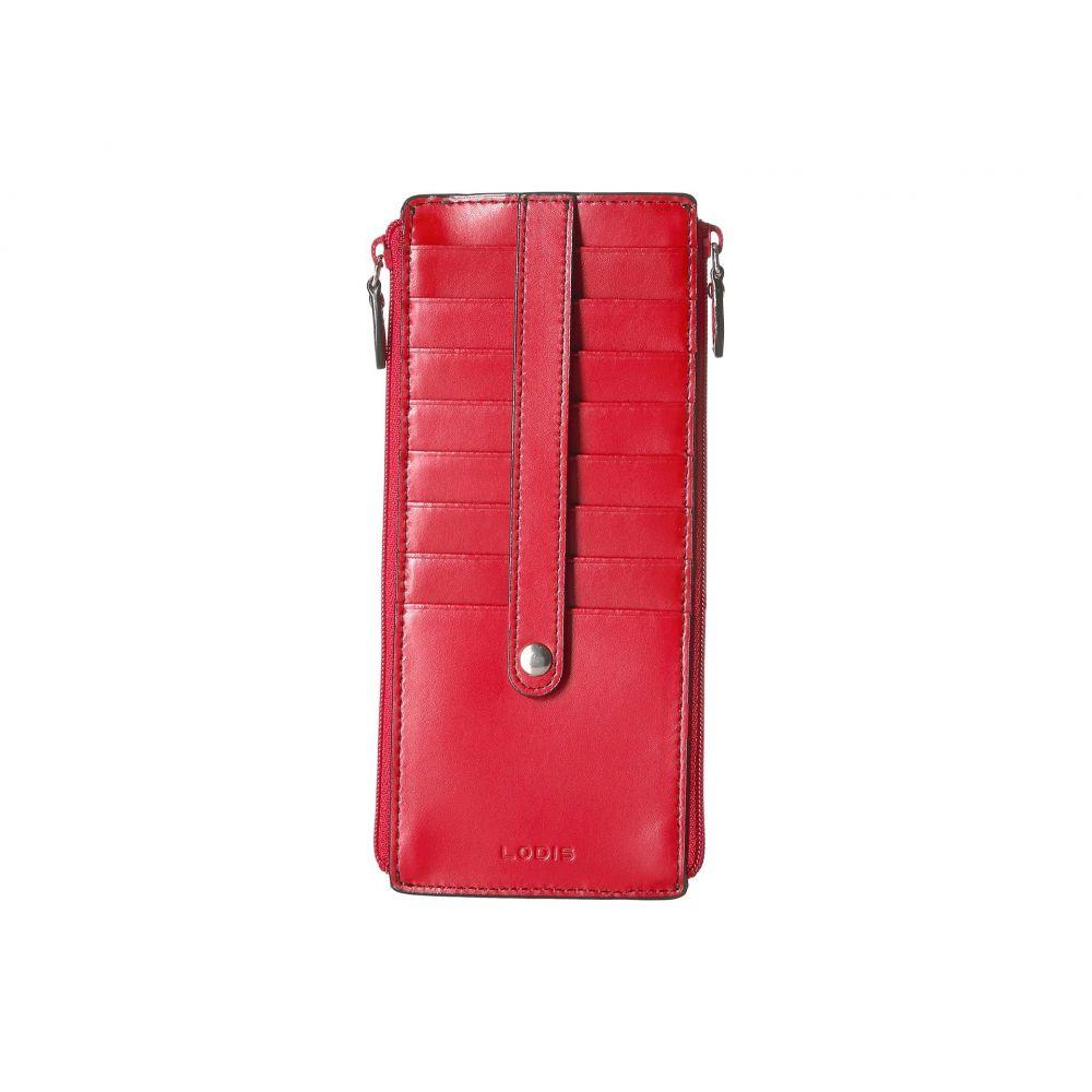 ロディス アクセサリー レディース カードケース・名刺入れ【Audrey RFID Under Lock & Key Double Zip Card Case】Red