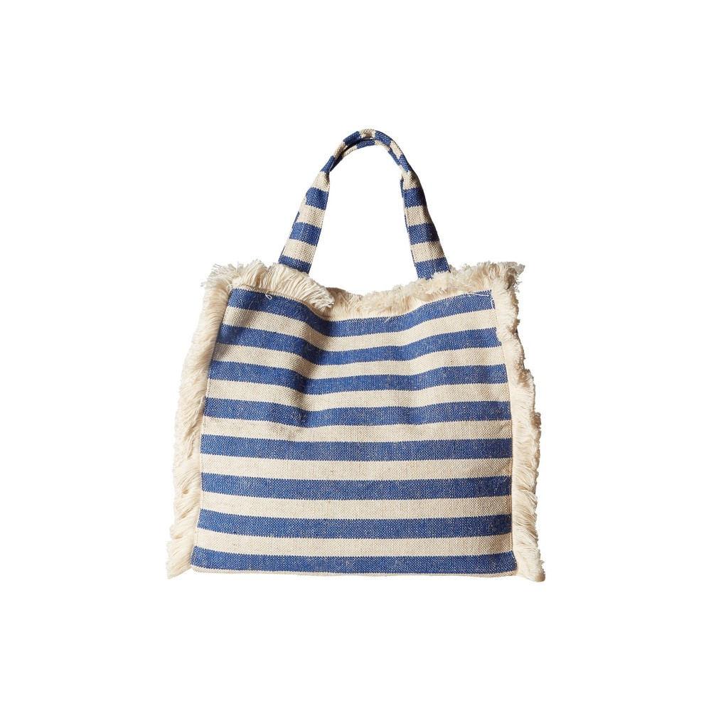 ハットアタック レディース バッグ トートバッグ【Fringed Canvas Tote】Blue Stripes