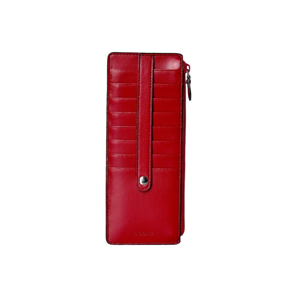 ロディス アクセサリー レディース カードケース・名刺入れ【Audrey RFID Card Case With Zip Pocket】Red RFID