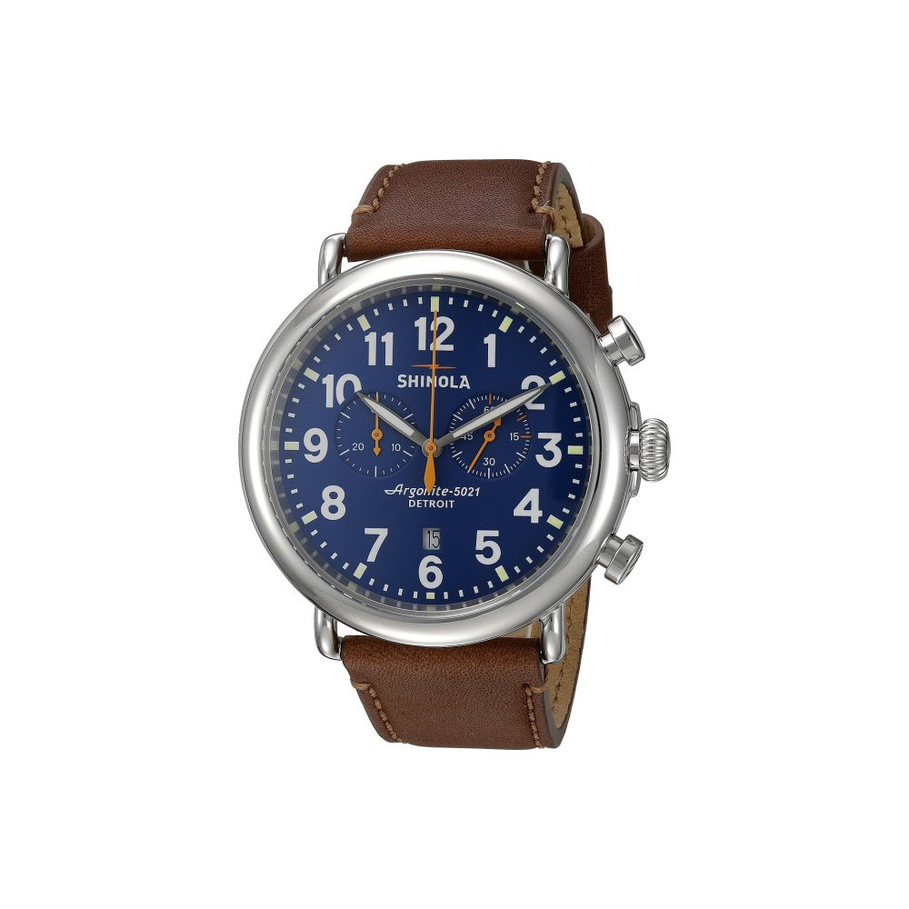 シャイノーラ メンズ 腕時計【The Runwell Chrono 47mm - 10000047】Blue/Dark Brown