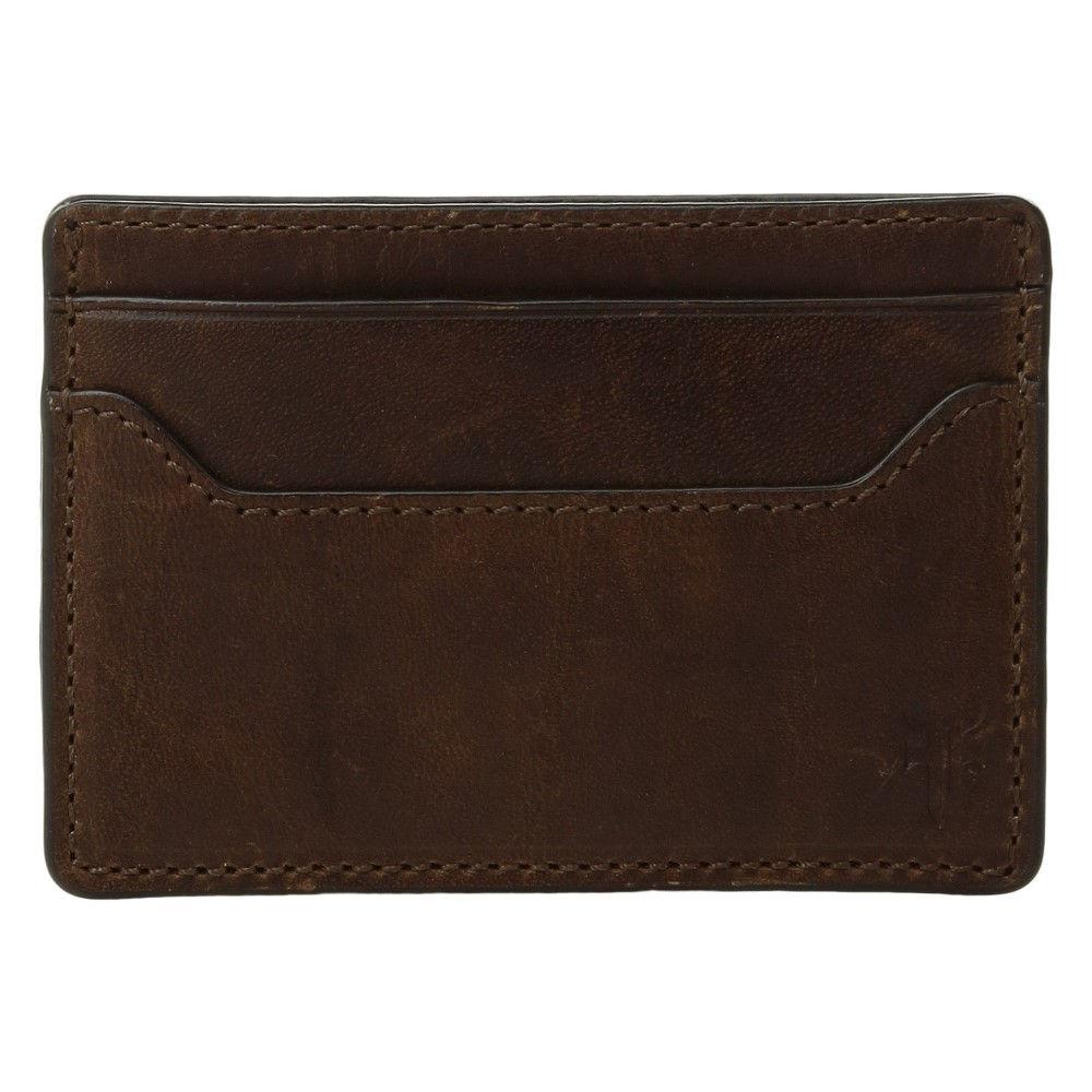 フライ メンズ カードケース・名刺入れ【Logan Money Clip Card Case】Dark Brown Antique Pull-Up