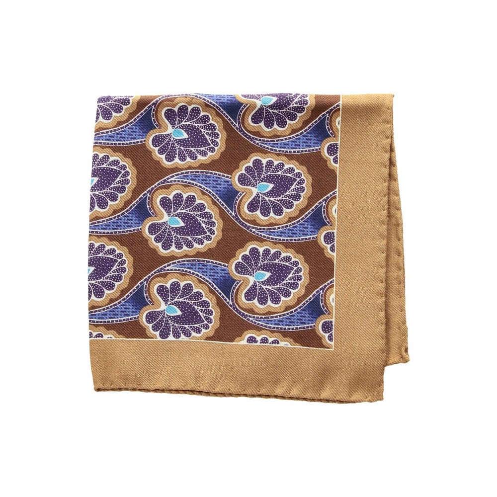 イートン メンズ ハンカチ・チーフ【Floral Pocket Square】Purple