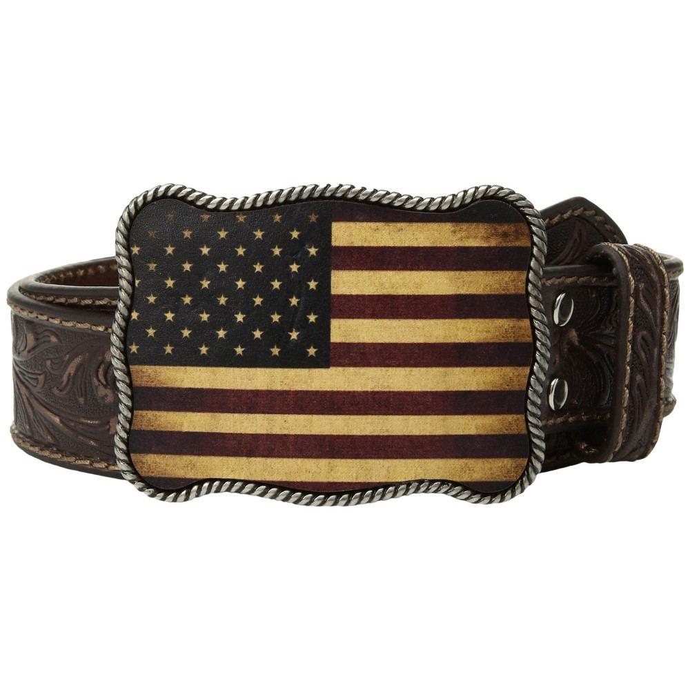 エムアンドエフ ウエスタン メンズ ベルト【Vintage Embossed USA Buckle Belt】Brown