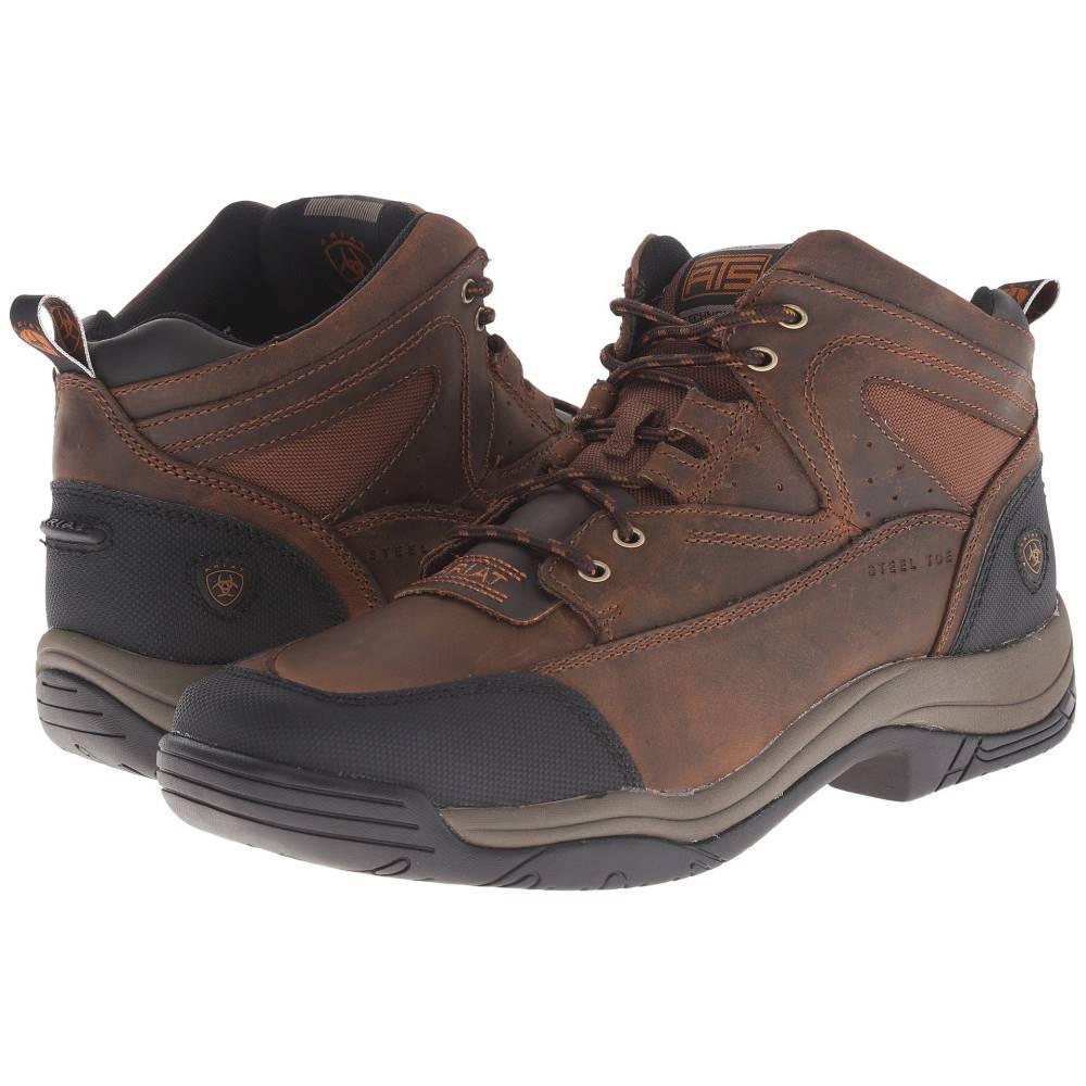 アリアト メンズ ハイキング・登山 シューズ・靴【Terrain Wide Square Steel Toe】Distressed Brown