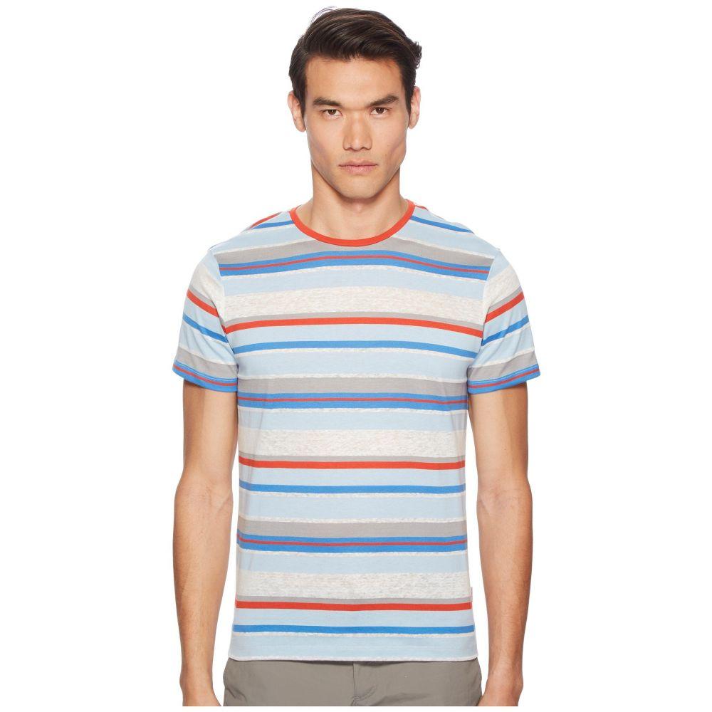 オールバー ブラウン メンズ トップス Tシャツ【Sammy Linen Stripe T-Shirt】Powder Blue/Berry/Heron