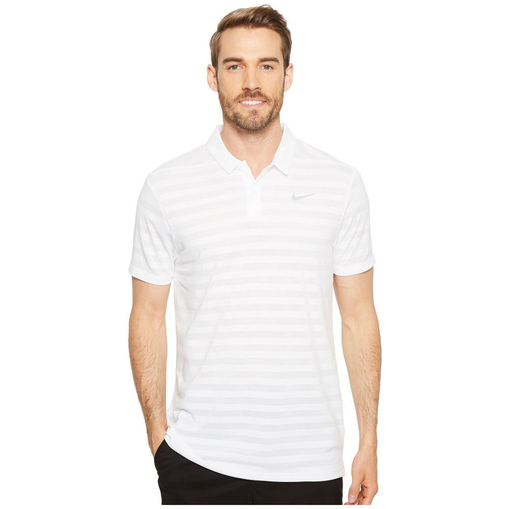ナイキ メンズ トップス ポロシャツ【Breathe Stripe Polo OLC】White/Flat Silver