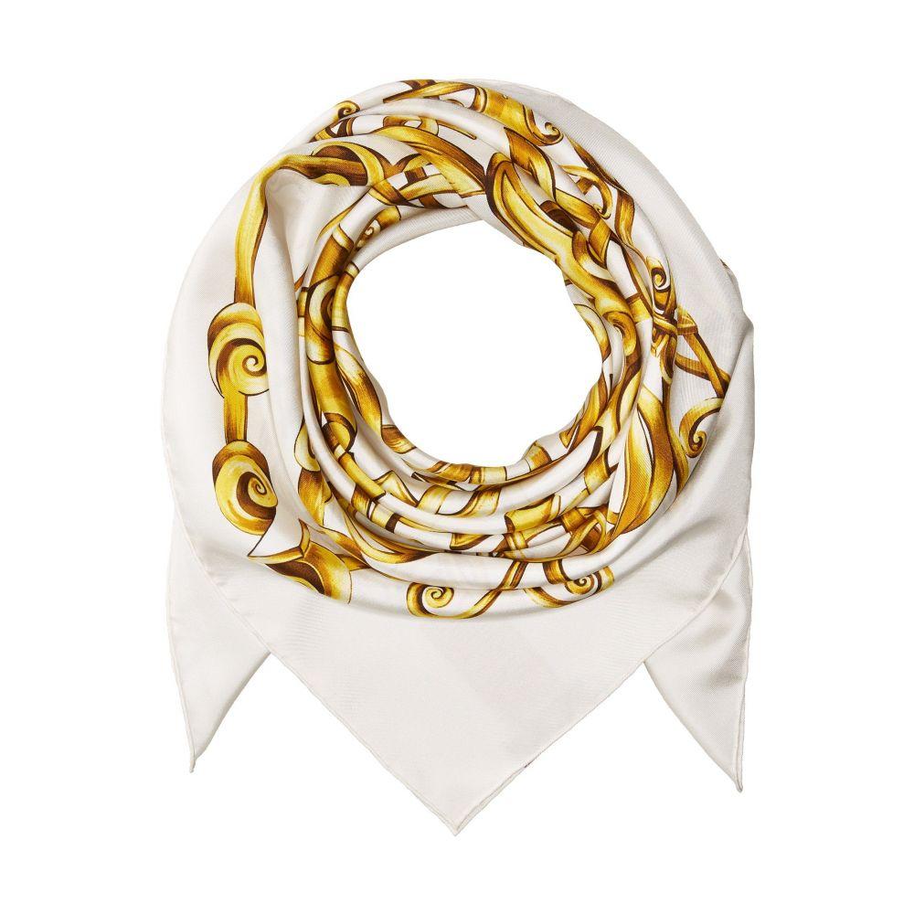 ヴェルサーチ メンズ マフラー・スカーフ・ストール【Baroque Print Scarf】White/Gold