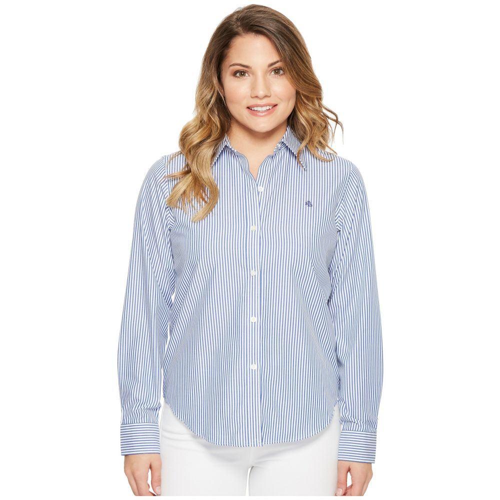 ラルフ ローレン レディース トップス ブラウス・シャツ【Petite Striped Cotton Shirt】Blue/White