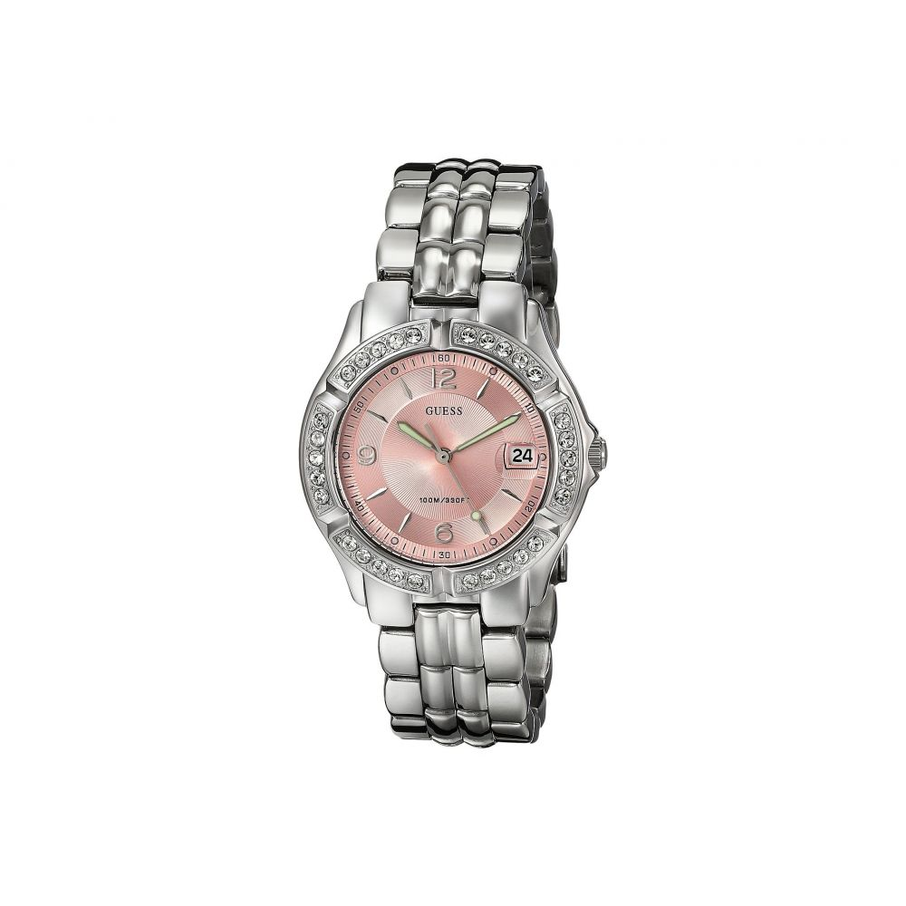 ゲス レディース 腕時計【G75791M Stainless Steel Quartz Watch】Silver Bracelet/Silver Case With Crystals/Pink Dial