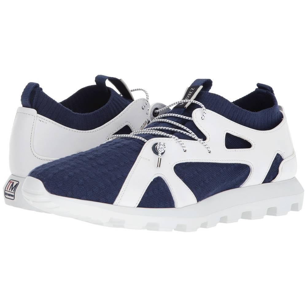 ジーゼニア メンズ シューズ・靴 スリッポン・フラット【Techmerino Sock Slip-On Sneaker】White/Blue