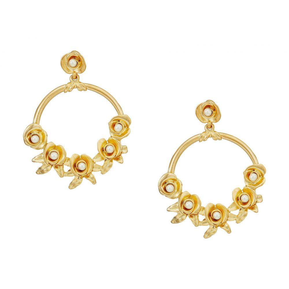 ケネスジェイレーン レディース ジュエリー・アクセサリー イヤリング・ピアス【Satin Gold w/ Flowers/White Pearl Center Hoop Pierced Earrings】Satin Gold/Flowers/White Pearl