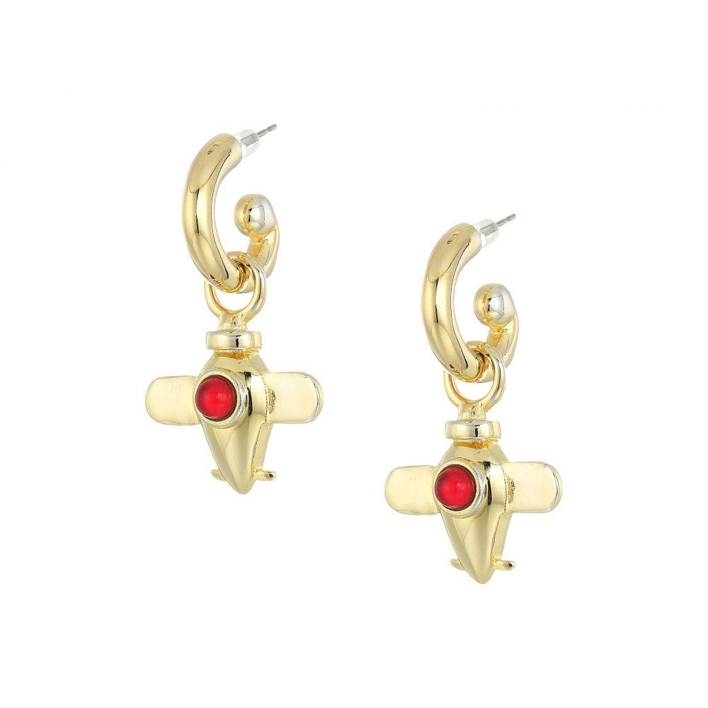 ケネスジェイレーン レディース ジュエリー・アクセサリー イヤリング・ピアス【Center Airplane Charm Drop Pierced Earrings】Gold/Ruby