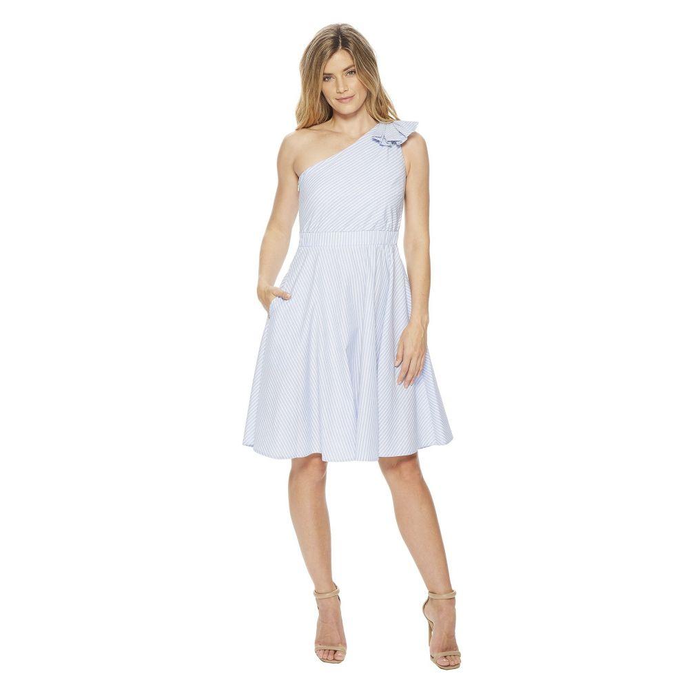 カルバンクライン レディース ワンピース・ドレス ワンピース【One Shoulder Striped A-line Dress CD8G12HF】Chambray/White