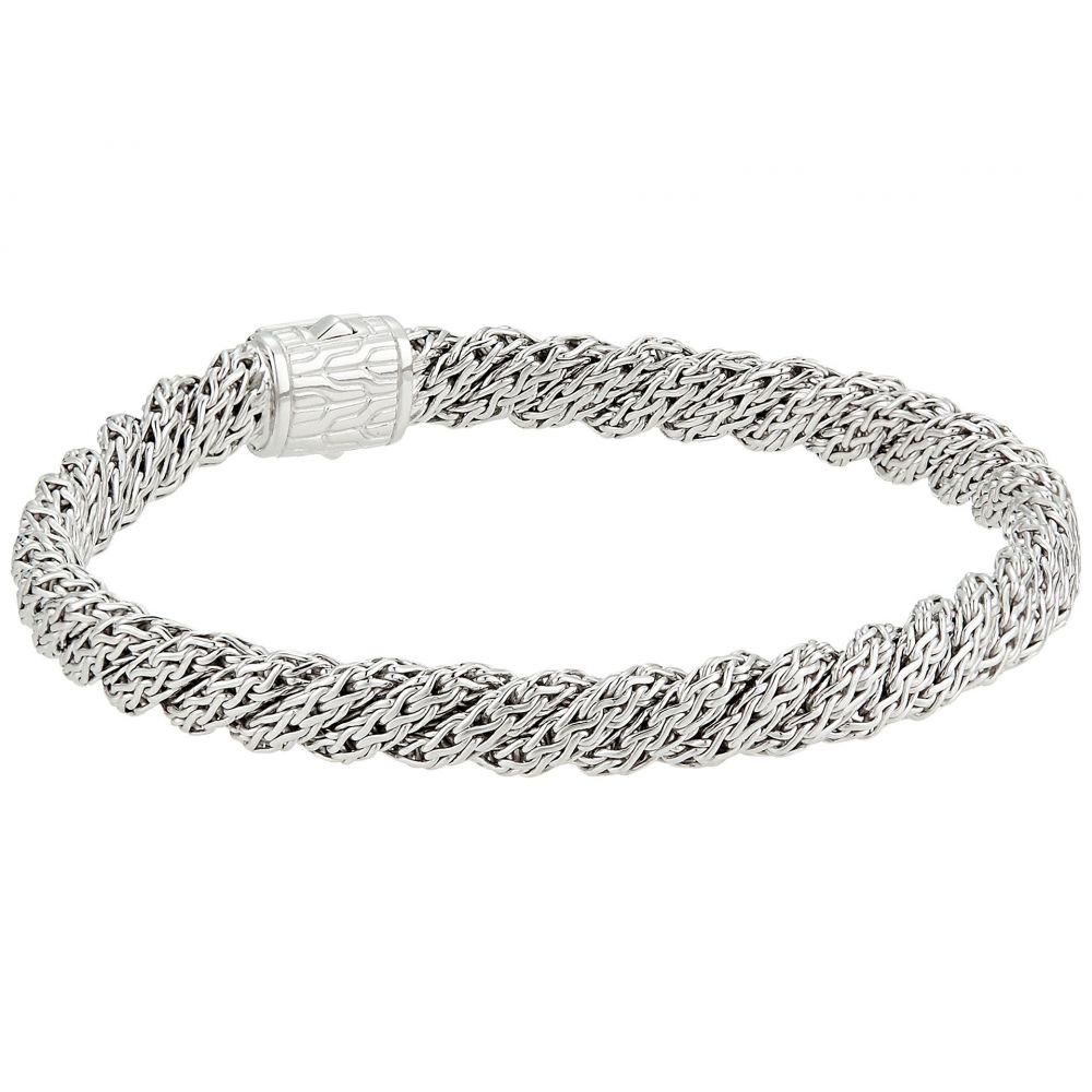 ジョン ハーディー レディース ジュエリー・アクセサリー ブレスレット【Twist Chain Lava Flat Bracelet with Black Sapphire】Silver