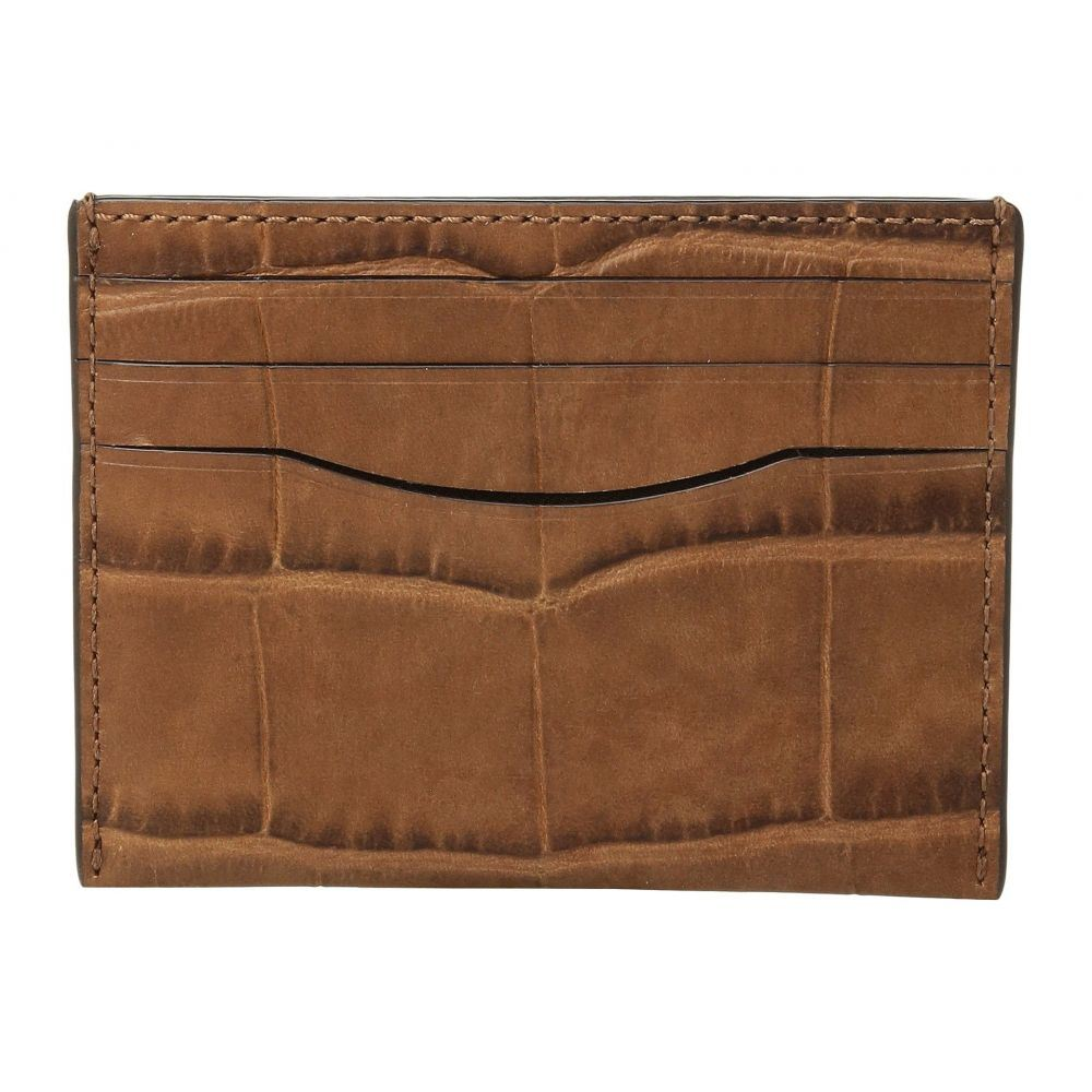コーチ メンズ カードケース・名刺入れ【Card Case in Crocodile Embossed Leather】Saddle