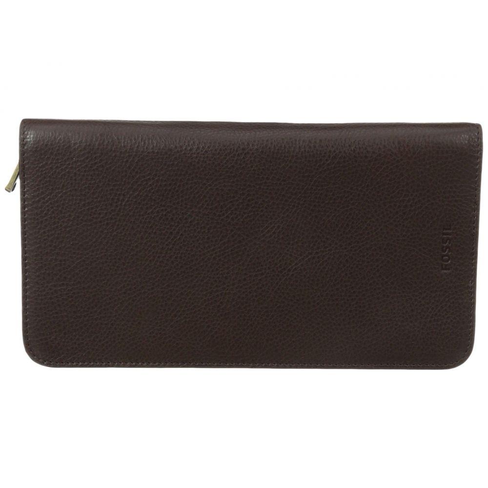 フォッシル メンズ パスポートケース【Multi-Zip Passport Case】Brown