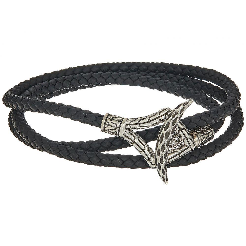ジョン ハーディー メンズ ジュエリー・アクセサリー ブレスレット【Legends Naga Triple Wrap Bracelet in Black Leather】Silver