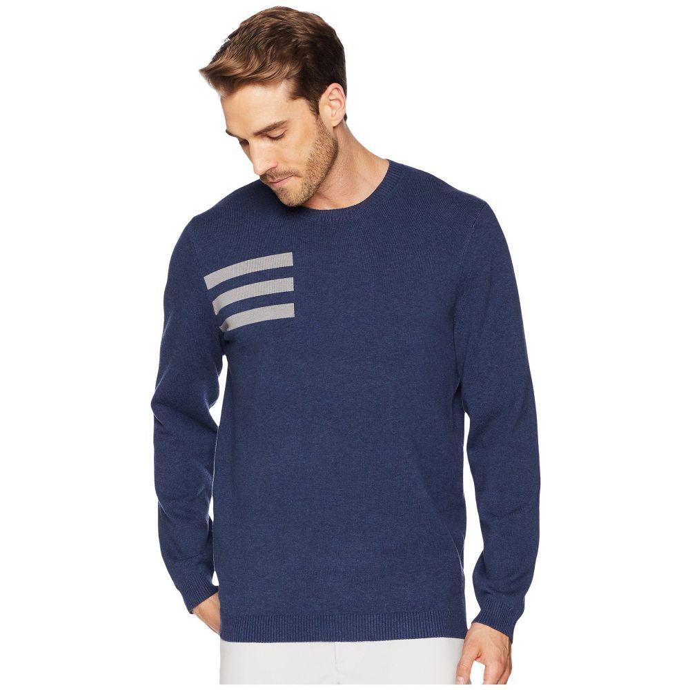 アディダス メンズ ゴルフ トップス【3-Stripes Crew Neck Sweater】Collegiate Navy Heather