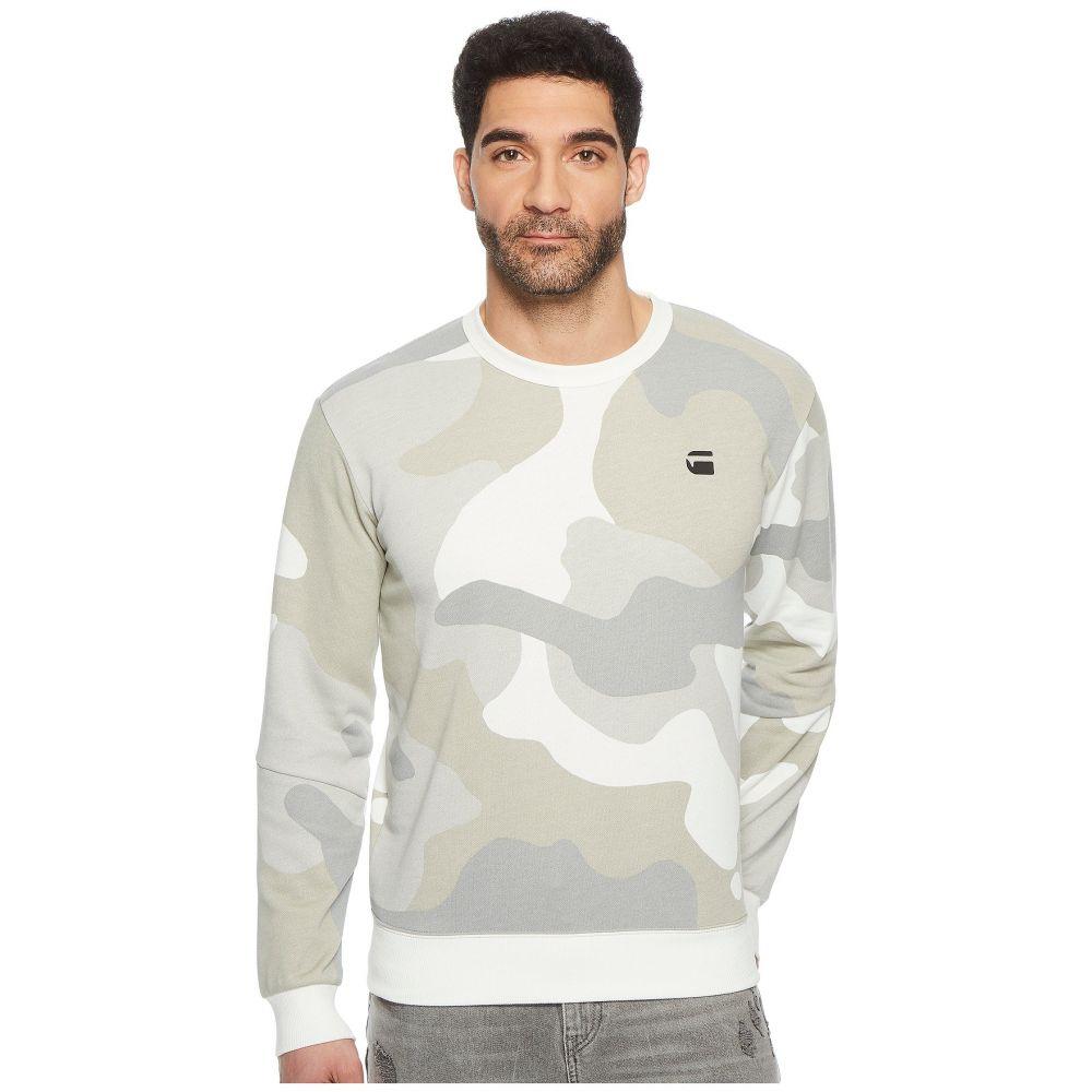 ジースター ロゥ メンズ トップス スウェット・トレーナー【Stalt Crew Sweater】Milk/Industrial Grey All Over